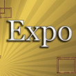Expo in frame gold background — Stock Photo