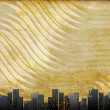 Big city skyline, textural retro background — Stock Photo
