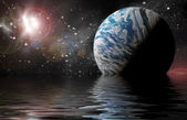 Planet in space Reflected in water — Stock Photo