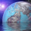 Planet in space Reflected in water - Stock Photo