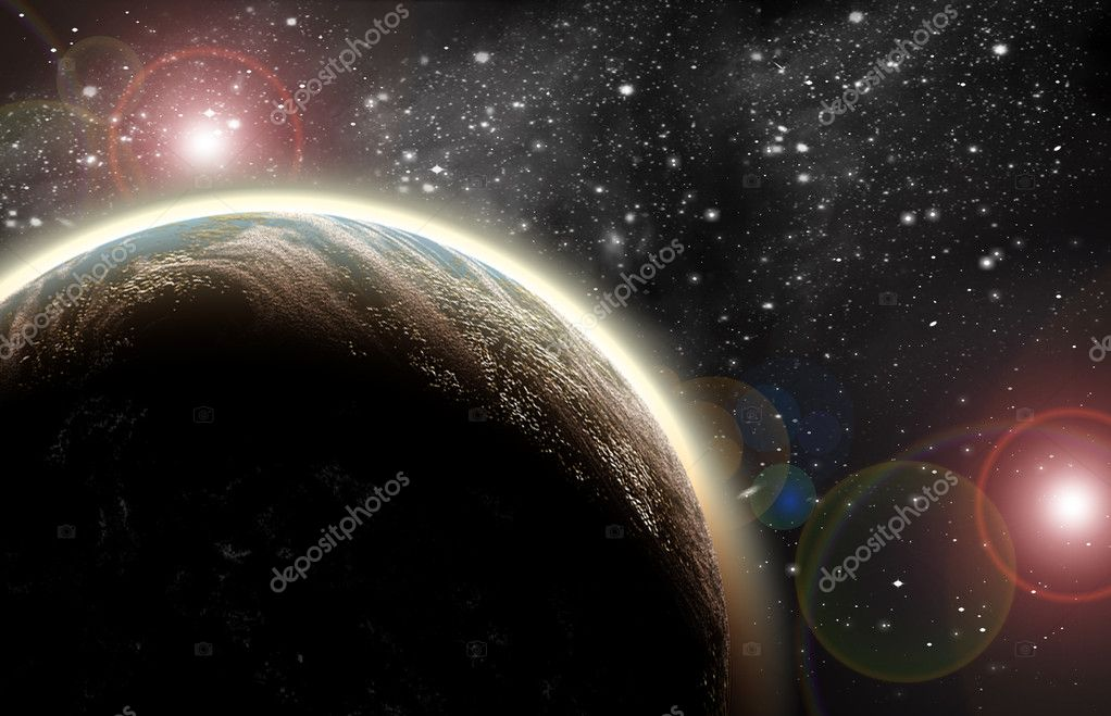 Planet in space in the star sky of flash, light — Stock Photo #4397675
