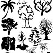 Stock Photo: Vectoral tree silhouettes.