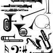Musical instruments silhouette collection — Stock Photo