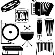 Royalty-Free Stock Photo: Musical instruments silhouette collection
