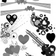 Foto Stock: Vector heart silhouettes