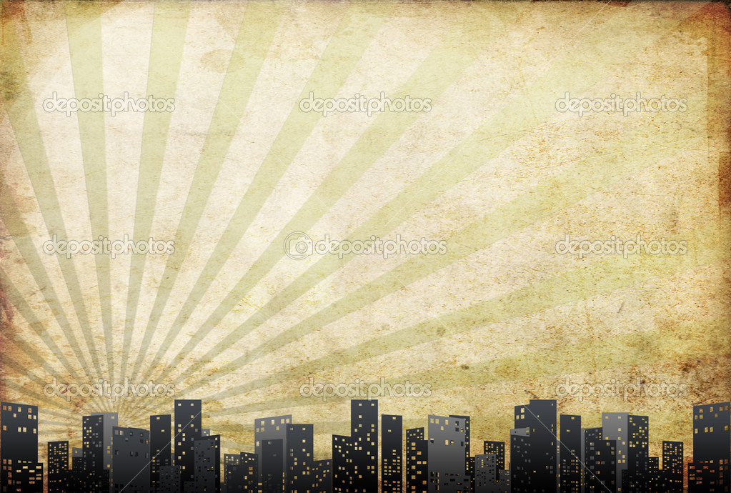 Big city skyline, textural retro background With drawing elements  — Stock Photo #4426147