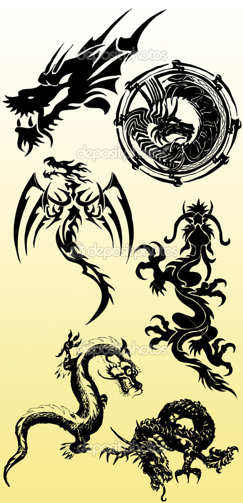 Dragons silhouette collection vector  Stock Photo #4426394