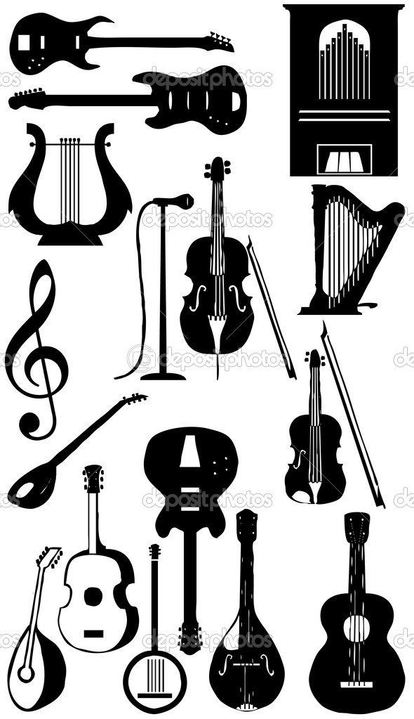 Musical instruments silhouette collection, Vector — Stock Photo #4426604