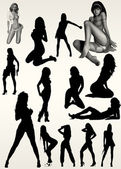 Fashion sexy women silhouettes — ストック写真