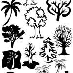Подробные дерево силуэты — Стоковое фото