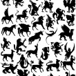 Mythological animals silhouette - 图库照片