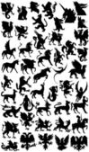 Mythological animals silhouette — ストック写真