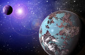 Planet in space in the star sky of flash — Stock Photo