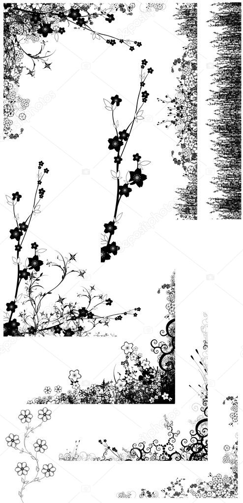 Flower and grass  silhouettes collection — Stock Photo #4663585