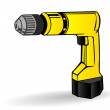 Vector illustration a yellow drill on a white background — Stock Vector