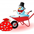 Vector illustration the snowman in a red wheelbarrow — Stock Vector