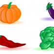 Vector illustration vegetables cabbage, an eggplant, a pumpkin a — Stock Vector #4807384