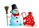 ベクトル イラスト クリスマス雪だるま — ストックベクタ
