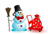 Vector illustration the Christmas snowman — Stock Vector