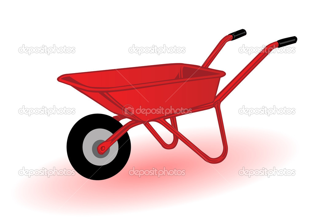 Vector illustration a red wheelbarrow for transportation of cargoes  Stock Vector #4807394