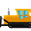 Vector illustration a yellow tractor on wheels. — Stock Vector