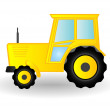 Vector illustration a yellow tractor on wheels — Stock Vector