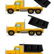 Vector illustration the yellow truck — Stock Vector