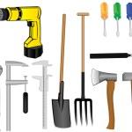 Vector a tooling a drill an axe a hammer a pitchfork a shovel of — Stock Vector #4950814