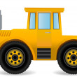 Vector illustration the yellow traktor. — Stock Vector