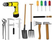 Vector a tooling a drill an axe a hammer a pitchfork a shovel of — Stock Vector