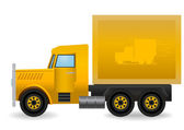 Vector illustration the yellow truck. — Stock Vector