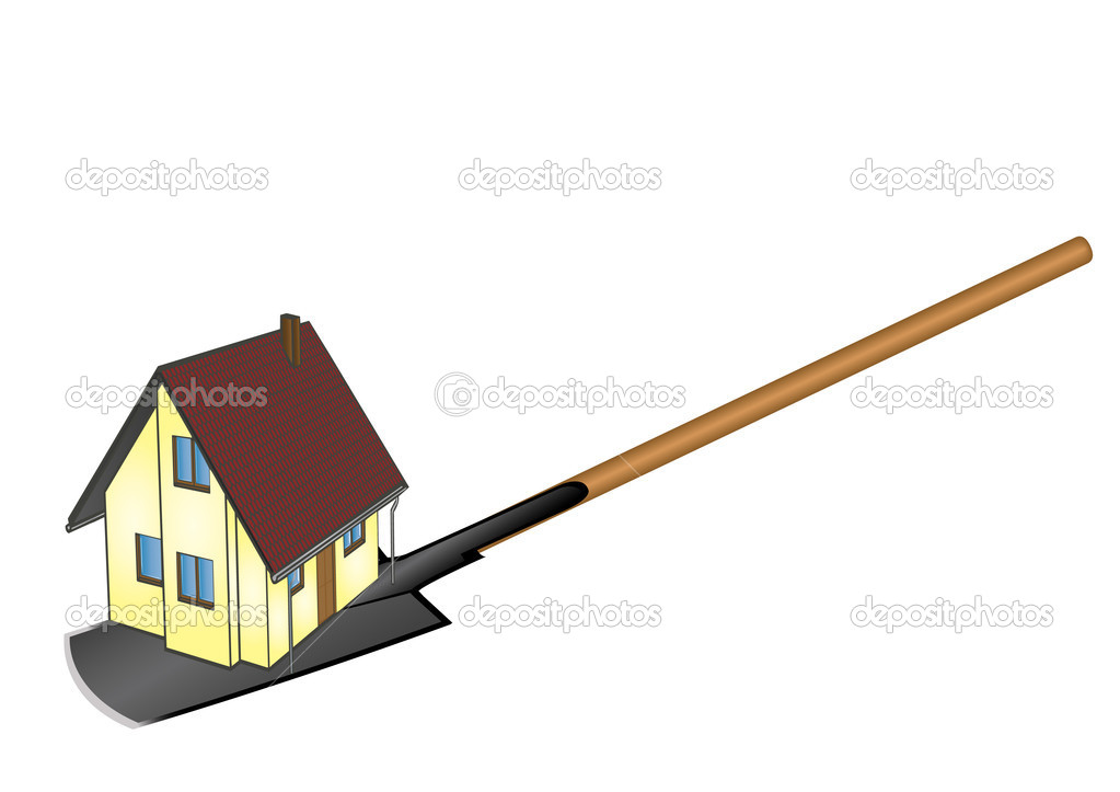 Vector illustration the private house located on a shovel  Stock Vector #4950803