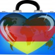 Vector illustration a suitcase with globe and heart germany on a — Stock Vector
