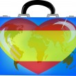 Vector illustration a suitcase with globe and heart spain — Stock Vector