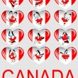 Vector a set of hearts with a flag Canada and persons — Stock Vector #5248339