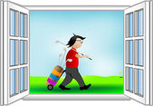 Vector illustration a window and the golfer — Stock Vector