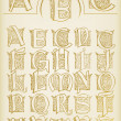 Vintage alphabet vector set on old paper - Stock Vector