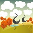 Stock Vector: Vector autumn landscape with cranes birds and trees