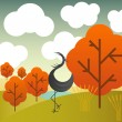 Vector autumn landscape with cranes birds and trees — Stock vektor