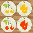 Cherry juice drops button set vector — Stock Vector