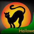 Halloween illustration moon and black cat — Imagens vectoriais em stock
