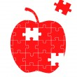 Red apple with a piece of the puzzle missing concept vector - Stock Vector