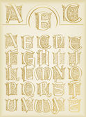 Vintage alphabet vector set on old paper — Stock Vector