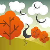 Vector autumn landscape with cranes birds and trees — Stockvector