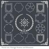 éléments vintage pour cadre ou livre couverture, vecteur de la carte — Vecteur
