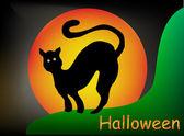 Halloween illustration moon and black cat — Stock Vector