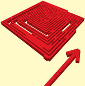 Vector illustration of red maze — Stock Vector