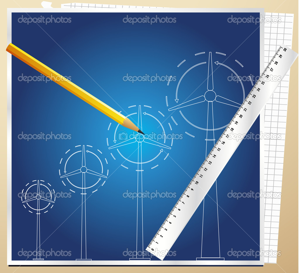 Wind generator blueprint vector background with pen for Blueprint generator free