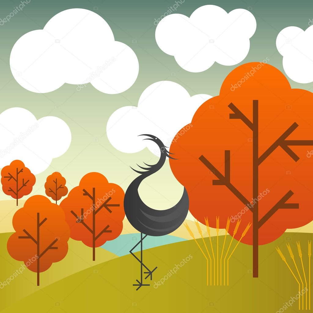 Vector autumn landscape with cranes birds and trees for poster — Stock Vector #3938045