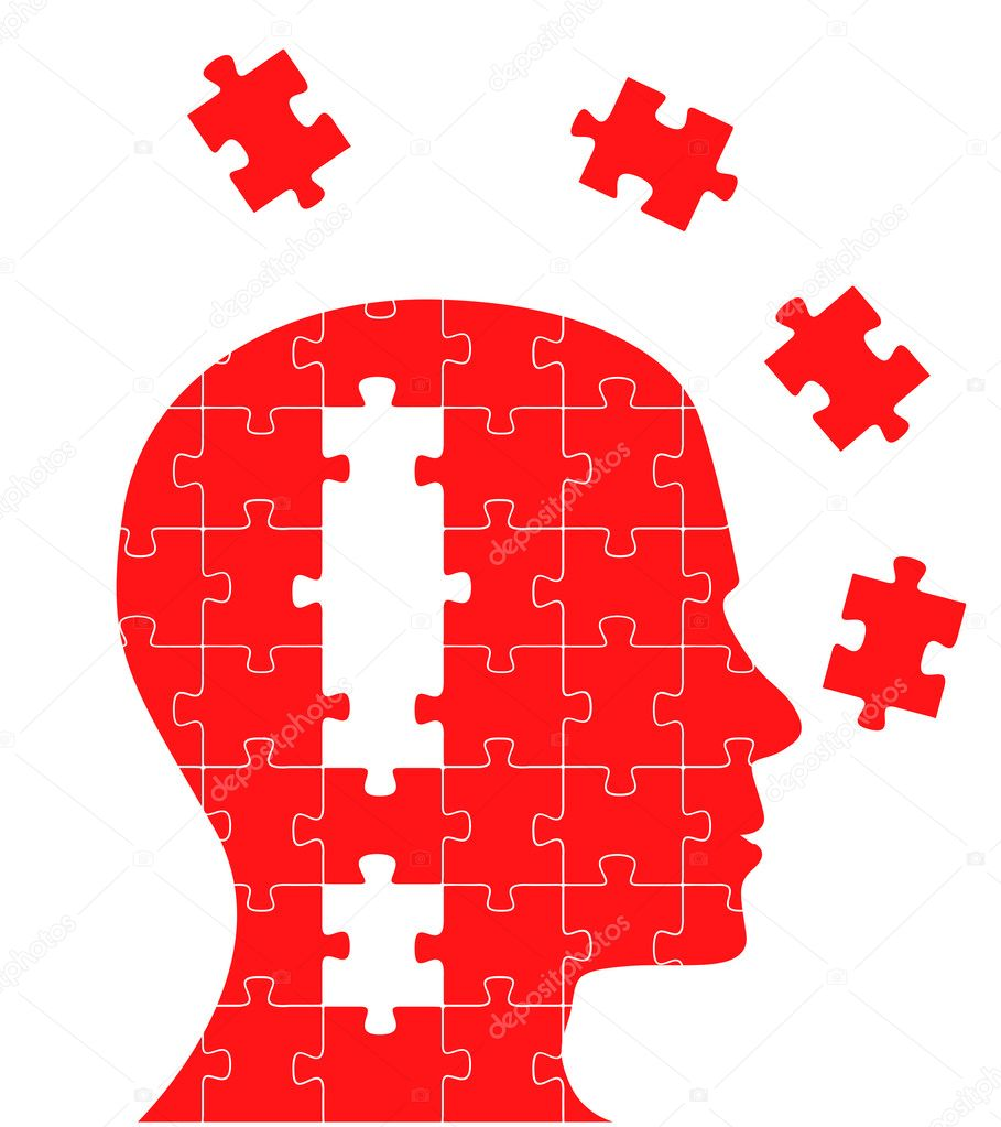 Puzzle concept head with exclamation mark in it. Vector background for poster or card — Stock Vector #3938196